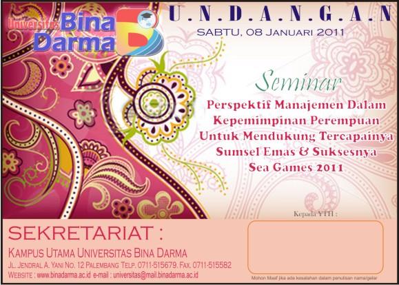 Desain Undangan Seminar di Universitas Bina Darma