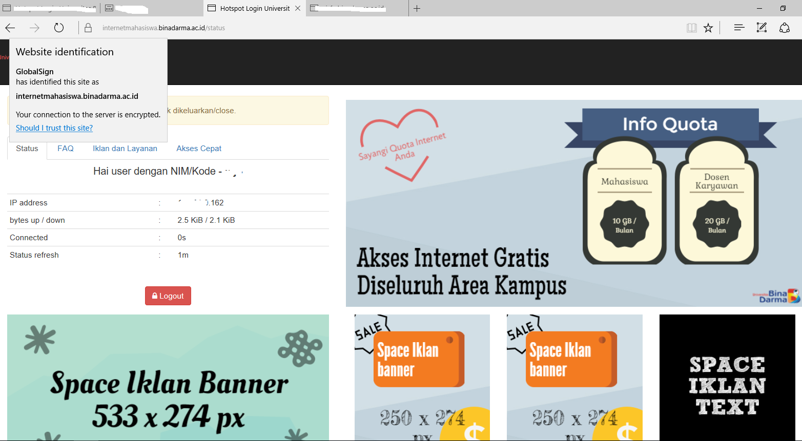 halaman login https internet hotspot mahasiswa universitas bina darma